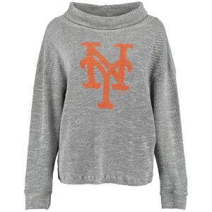 Mets Majestic Threads Women's Tri Yarn Slouched Neck Pullover Sweatshirt