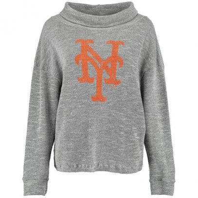 Mets Majestic Threads Women's Tri Yarn Slouched Neck Pullover Sweatshir