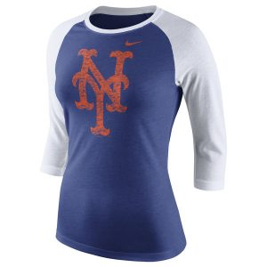 Mets Nike Logo Tri-Blend Three-Quarter Sleeve Raglan T-Shirt