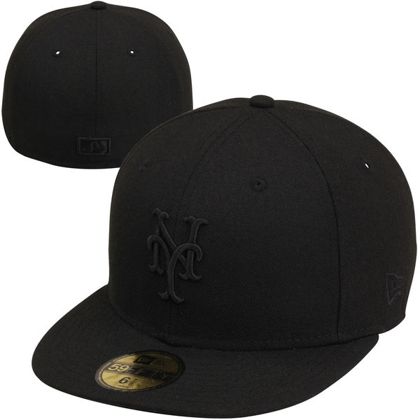 size 40 1a305 1171e Men s New York Mets New Era Black Tonal 59FIFTY Fitted Hat
