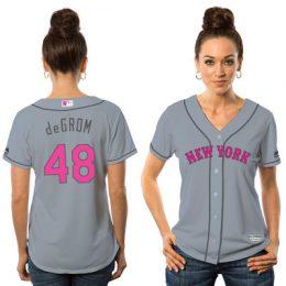 Jacob deGrom New York Mets Majestic Women's Cool Base Replica Jersey – Gray