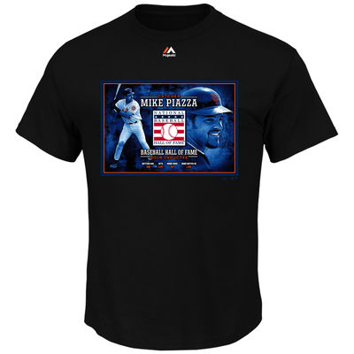 Mike Piazza New York Mets Majestic 2016 Hall of Fame Induction Portrait Tee – Black