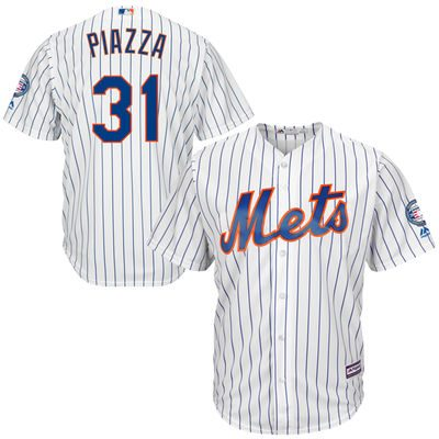 Mike Piazza New York Mets Majestic 2016 Hall Of Fame Induction Cool Base Jersey with Sleeve Patch – White