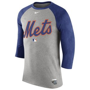 Mets Nike Authentic Collection Legend Three-Quarter Sleeve Raglan T-Shirt