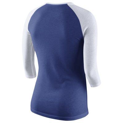 Mets Nike Logo Tri-Blend Three-Quarter Sleeve Raglan T-Shirt