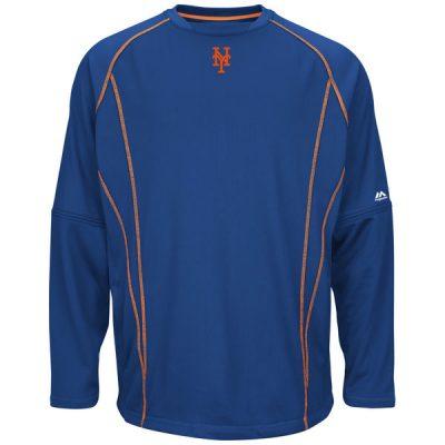 New York Mets Majestic On-Field Practice Pullover Sweatshirt
