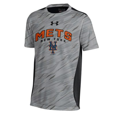 Mets Under Armour Youth Colorblock Novelty Top Performance T-Shirt