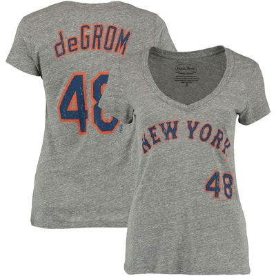 Jacob deGrom New York Mets Majestic Threads Women's Name and Number V-Neck T-Shirt – Gray