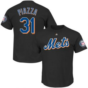 Mike Piazza New York Mets Majestic 2016 Hall Of Fame Induction Patch Name & Number T-Shirt – Black