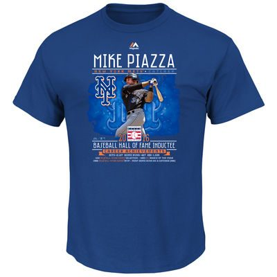 Mike Piazza New York Mets Majestic 2016 Hall of Fame Player Stat T-Shirt – Royal